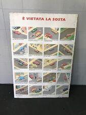 Insegna bifacciale materiale didattico pannelli sosta autoscuola anni 70 vintage