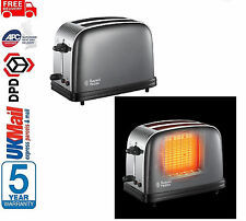 Russell Hobbs 23332 Colours+ 2 Slice X-Wide Toaster Crumb Tray Kitchen Grey NEW