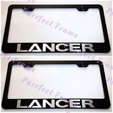 2X LANCER Mitsubishi Laser Style Black Stainless Steel License Plate Frame W/Cap