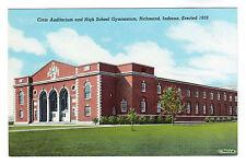 Civic Auditorium Richmond Indiana Photo Postcard c1940s