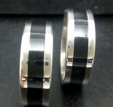 Wholesale 30Pcs Silver Black Enamel Band Stainless Steel ring Jewelry Rings