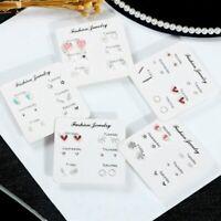 Charm 6 Pairs Crystal Pearl Ear Stud Earrings Women Wedding Jewelry Earrings Set