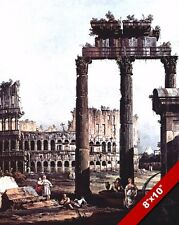 ANCIENT ROMAN RUINS COLOSSEUM OF ROME & COLUMNS PAINTING ART REAL CANVAS PRINT