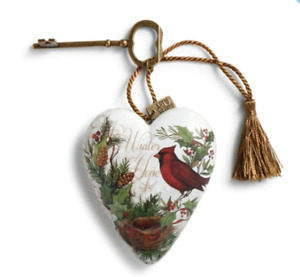 Winter Hope Art Heart Sculpture can hang or stand with attached key easel