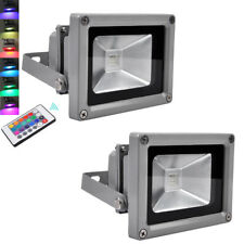 2X 10W Color Changing RGB LED Floodlight Outdoor Garden Light + IR Remote IP65