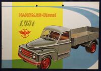 Original Prospekt Hanomag Diesel 1,98t um 1950 Lastwagen Transporter Verkehr sf