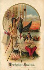 Embossed WInsch Schmucker Thanksgiving Postcard; Indian Couple Cook at Campfire