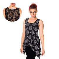 Banned Paloma Muertos Skull Gothic Punk Emo Dark Alternative Womens Blouse Top
