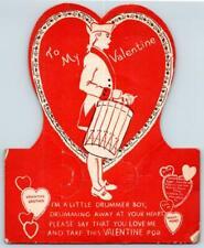 1940's E Rosen Co*Valentine Drummer Boy Die Cut Lollipop Holder Card*Red & White