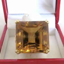 BIG Vintage 14K Gold Ring with 19.3mm Burnt Yellow Citrine  (20.3 grams, size 9)