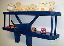 "AIRPLANE WALL DECORATION SHELF 18"" BLUE / Kids Aviation Furniture / Baby Shower"