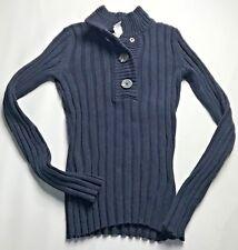 Van Heusen Ribbed Knit Sweater Womens Size XS Navy Blue Button Mock Turtleneck