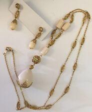 Vintage Avon Necklace & Earring Set Goldtone Ivory Drop Beads Excellent!