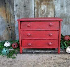Early Antique Wood Doll Dresser Toy Chest of Drawers Red Milk Paint