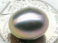 Genuine Violet Gray 11*13mm Oval Loose South Sea Round Half Drilled Single Pearl