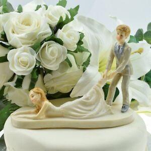 Bride & Groom Wedding Cake Topper - Groom Dragging Bride by Ankle Fun Decoration