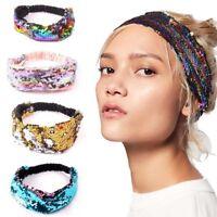 Women Girls Sequin Hairband Headband Mermaid Hair Band Elastic Turban Yoga New
