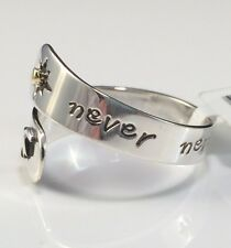 Never Never Give Up Adjustable Wrap Ring 925 Sterling Silver Handmade Gift Boxed