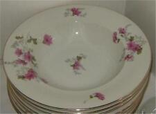 Crown China Japan White and Pink Floral Dahlia Three Rimmed Soup Bowls