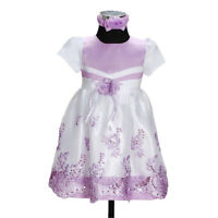 New Girls Party Flower Girl Dress with Headband in Pink,Lilac 6-9 to12-18 Months
