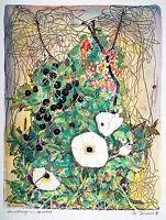 Michaela KRINNER 1915-2006: Kirschen Hecken Wicke 1989, Aquarell, publiziert