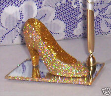 PRETTY FEATHER PEN w/GOLD IRIDESCENT GLITTER SLIPPER