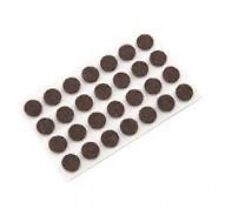 """100 pcs Brown Felt Pad Button 1/2"""" x 1/16"""" - Adhesive Backed Surface Protection"""