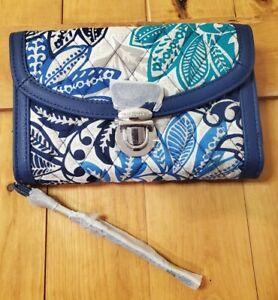 NWT $54 Vera Bradley Ultimate Wristlet Santiago PushLock Navy Cotton Wallet Bag