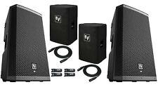 2x Ev Zlx-12Bt Active Dj 1000W Pa Bluetooth Speaker + (2) Zlx-12-Cvr + 2x Cables