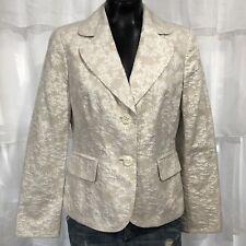 SIZE 8 - ANN TAYLOR Ivory Textured Jacquard Silk Blend Blazer Jacket