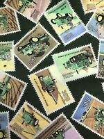 Fat Quarter John Deere Stamps Cotton Novelty Quilt Fabric Green Farm Tractors FQ