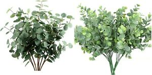 19'' 2 pack Faux Eucalyptus Greenery Bunch, Fake Artificial Eucalyptus Bushes