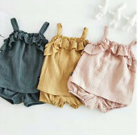 Baby Girls Summer Clothes Soft Cotton Tops+Shorts 2pcs Set Sleeveless Outfits
