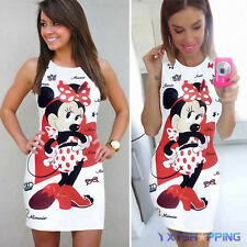 Women Minnie Bodycon Slim Pencil Dress Summer Casual Party Sleeveless Mini Dress