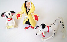 Disney 101 Dalmatians Cruella De Vil + Two Puppy Dogs McDonalds Toy Poseable 90s