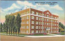 Linen postcard, The Hotel Clermont, modern tomorrow, Atlanta, GA