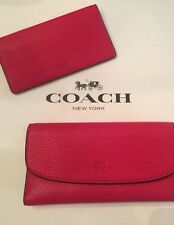 NWT~~COACH Pebbled Leather Checkbook Wallet~ IM/BRIGHT PINK $250 F56488
