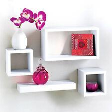 Modern Set Of 4 Floating Shelves Wall Storage Display Unit in White Black Oak