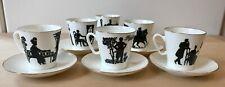 6 tazzine caffè di porcellana (San Pietroburgo) motivo imperiale bordino oro
