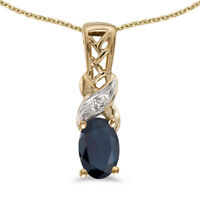 """14k Yellow Gold Oval Sapphire And Diamond Pendant with 18"""" Chain"""