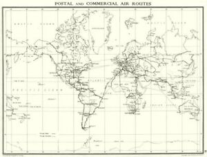 WORLD. Postal and commercial Air routes 1938 old vintage map plan chart
