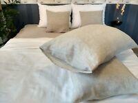 Linen Pillowcase Envelope Closure 100% Flax  White Gray Brown Rose