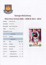 GEORGE McCARTNEY WEST HAM UTD 2006-08 & 2011-14 ORIG SIGNED TOPPS MATCH ATTAX