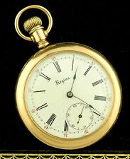 Regina Omega Gold Filled Pocket Watch 17J 25 Year Case Canadian AS IS ~ Lot 1525