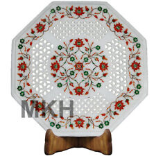 Marble Coffee Table Inlay Gem Stones Vintage Rose Side Tables Top Antique Design