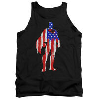 SUPERMAN FLAG SILHOUETTE Licensed Adult Men's Graphic Tank Top Sleeveless SM-2XL