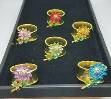 Sale! Exquisite Artisan Set of 6 Rhinestone Flower Beaded Napkin Rings, Sale!