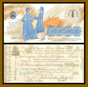 Colonial Williamsburg Currency 1 Dollar, 1996 Dancing Copy ABNC