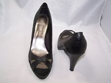 Size 8 black patent leather peep toe, stiletto heel shoes from Next
