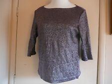 Woman's Top Knit Agenda Sz L Purple Acrylic Metallic 3/4 Sleeve